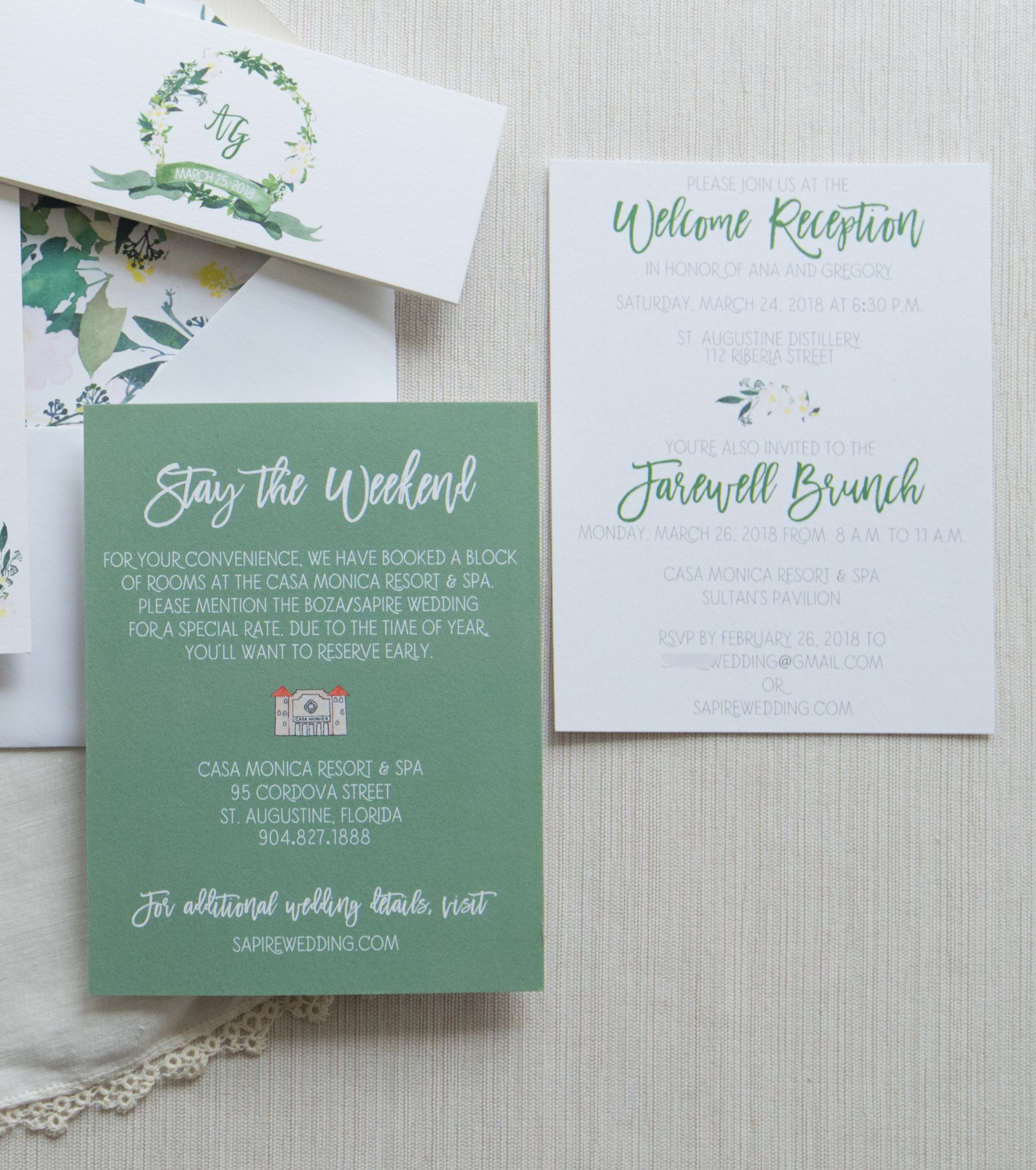 wedding hotel card and brunch cardsthe inviting pear