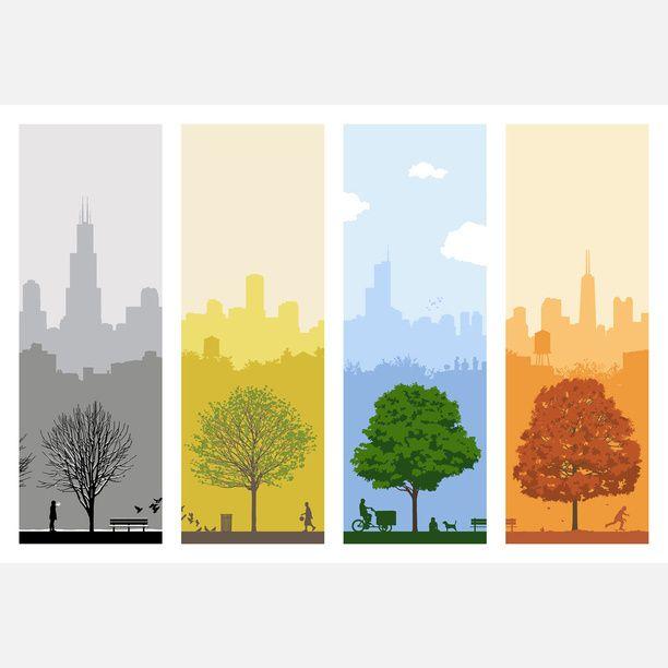 4 Seasons In Chicago 9 5x24 Art Blue Screenprint Fire Arstider