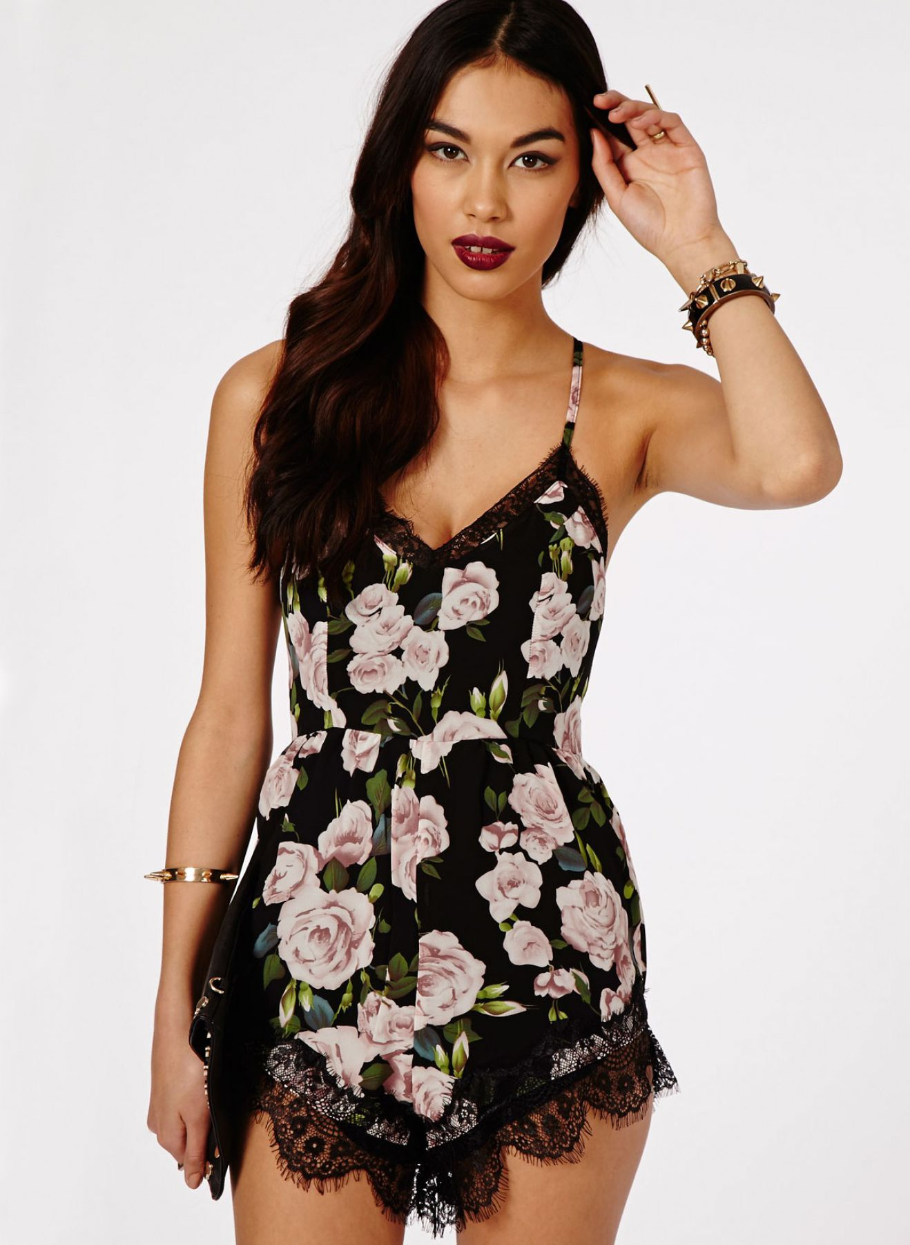 a14f00e4100a Black Criss Cross Floral Lace Slim Jumpsuit 21.67