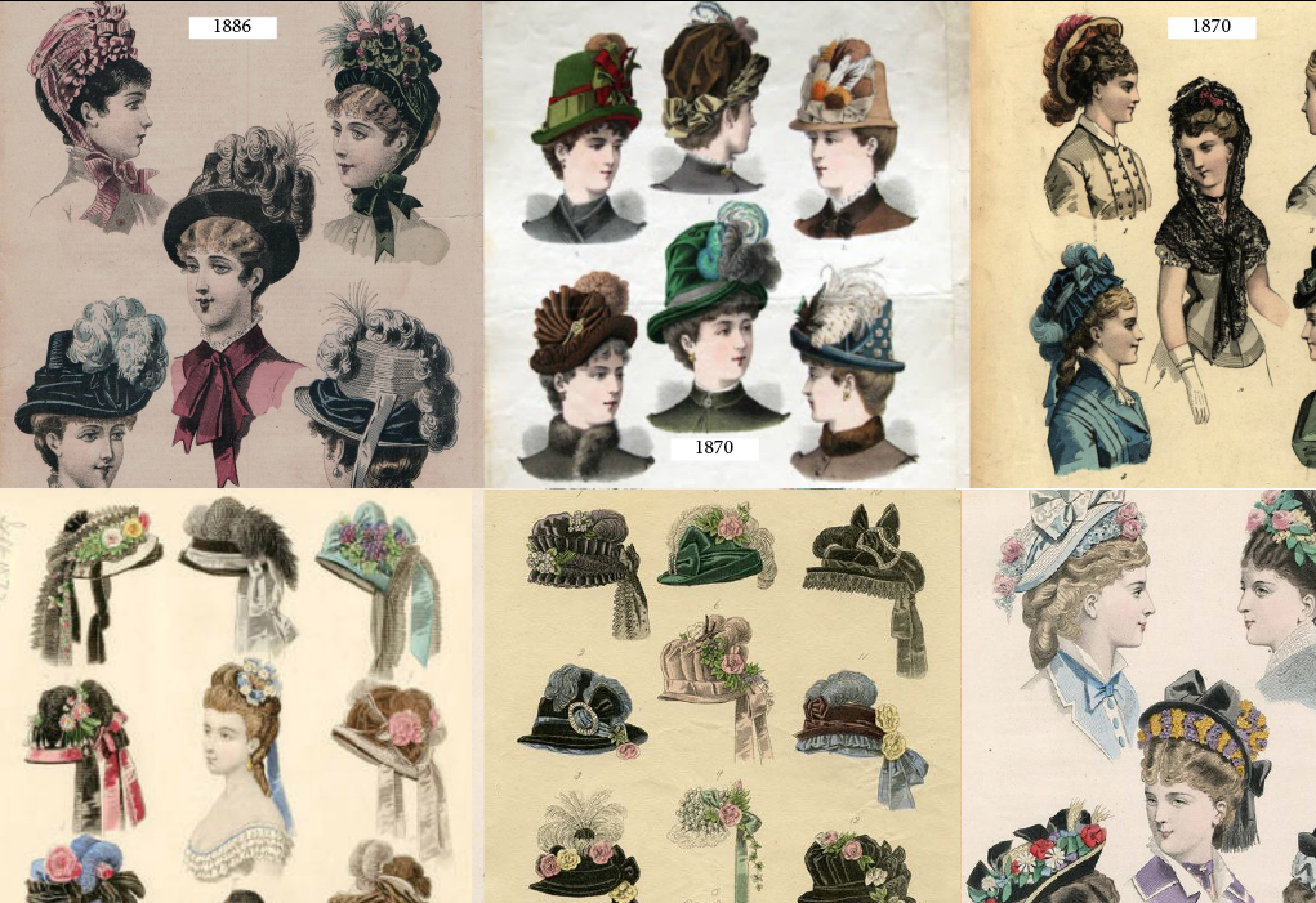 the hats that were in fashion from 1868-1875. | victorian