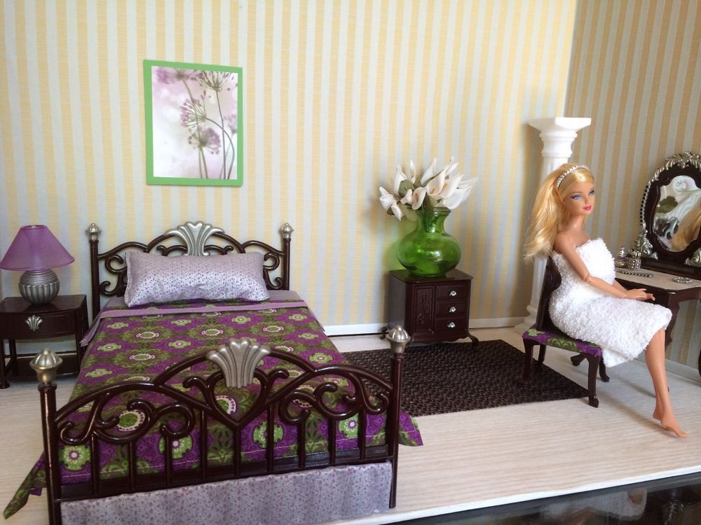 OOAK REALISTIC BARBIE BEDROOM SET W/ ACCESSORIES 1:6 SCALE FURNITURE