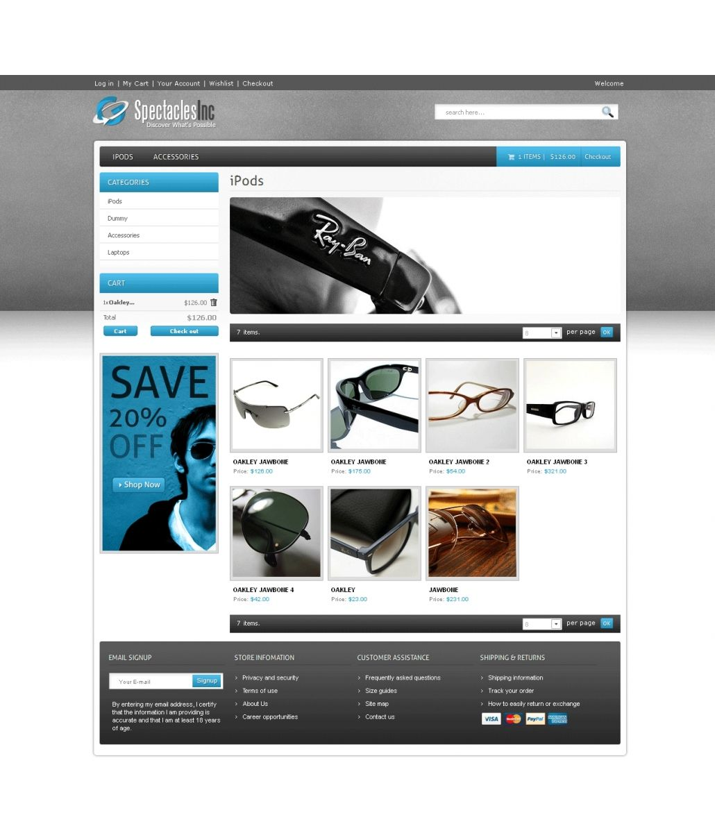 Spectacles is a brilliantly designed PrestaShop Glasses Theme. It offers a luxury style to show case store products with the blend of grey, white and light blue color scheme.   #PrestaShop #ecommerce #theme #webdesign