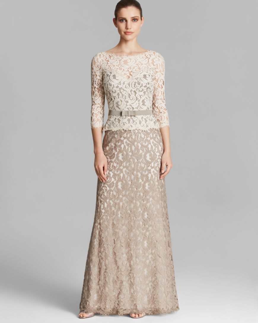 Tadashi shoji gown three quarter sleeve lace belted wedding