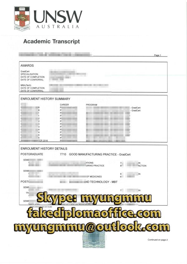 Buy Fake Unsw Transcript Transcript Good Manufacturing Practice
