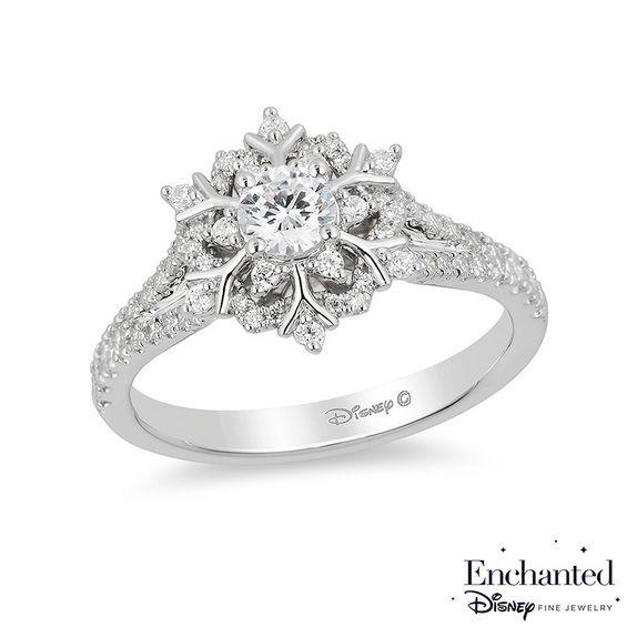 Enchanted Disney Elsa 5 8 Ct T W Diamond Snowflake