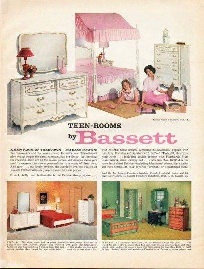 1961 bassett furniture ad teen rooms furniture vintage - Bassett bedroom furniture 1970 s ...