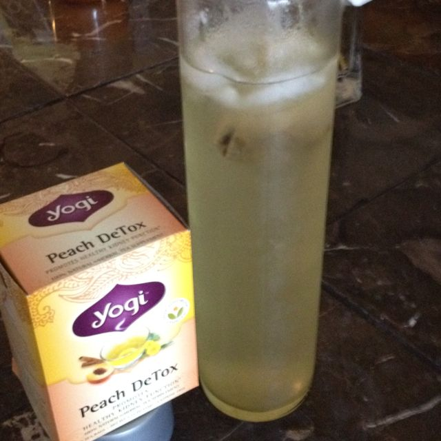 My version of the ten day weight loss - iced peach detox tea (contains dandelion) and lemon juice :) yum