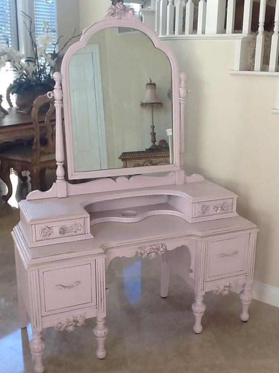 Antique French Provincial Vanity by ProvincialbutFrench on Etsy, $899.00 - Antique Vanity With Mirror, White With Espresso Stained Top, 5