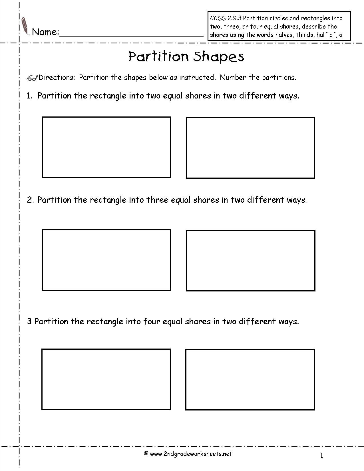 Ccss 2 G 3 Worksheets Partition Shapes Geometry Worksheets 2nd Grade Worksheets Shapes Worksheets