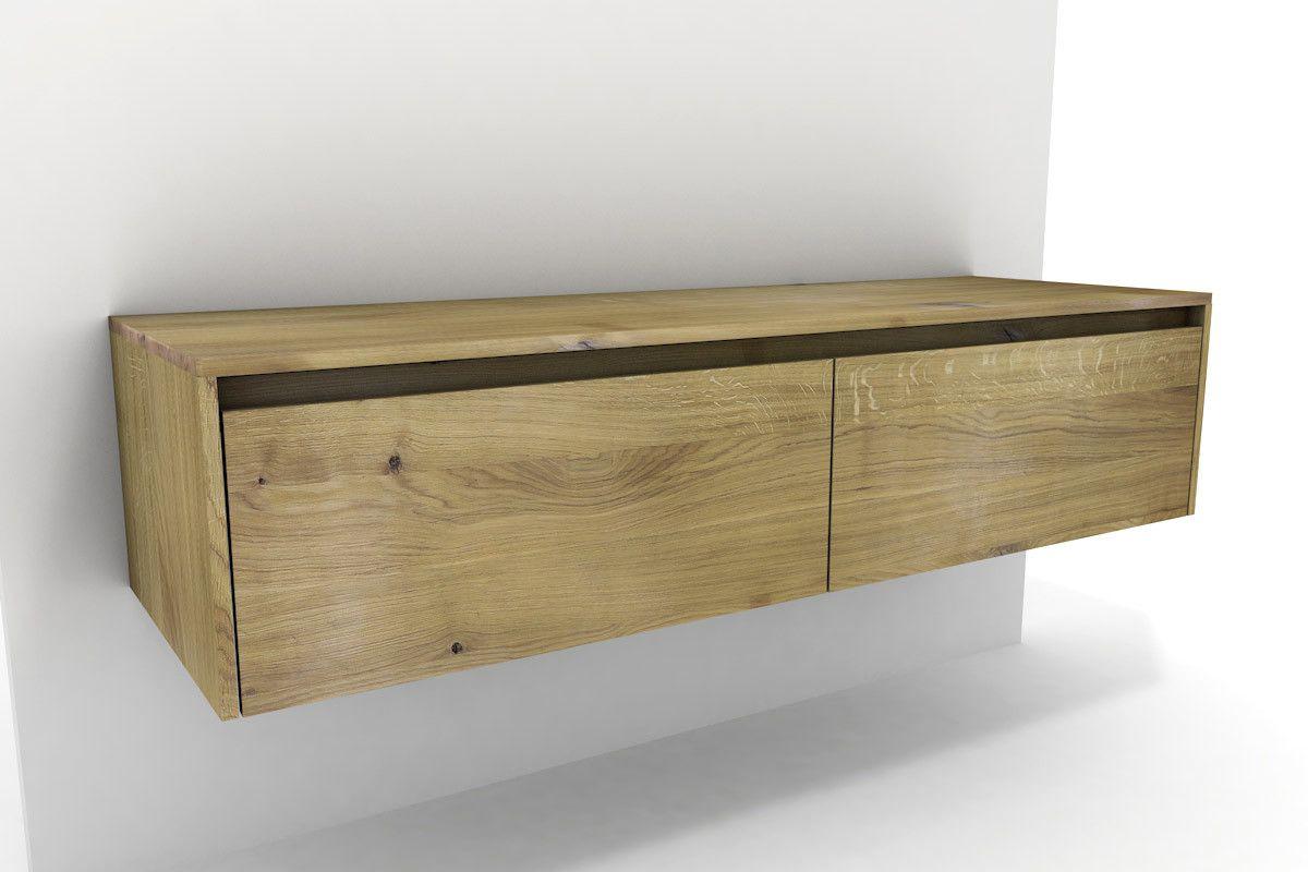 Badschrank Holz Eiche massiv 2 Schubladen   nach Maß ...