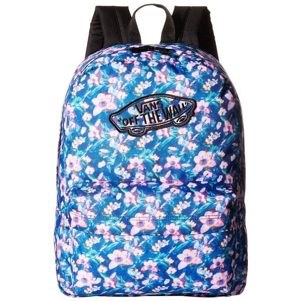 cb6972d259 Vans Realm Backpack ((Blurred Floral) Poseidon True White) Backpack...  ( 28) ❤ liked on Polyvore featuring bags