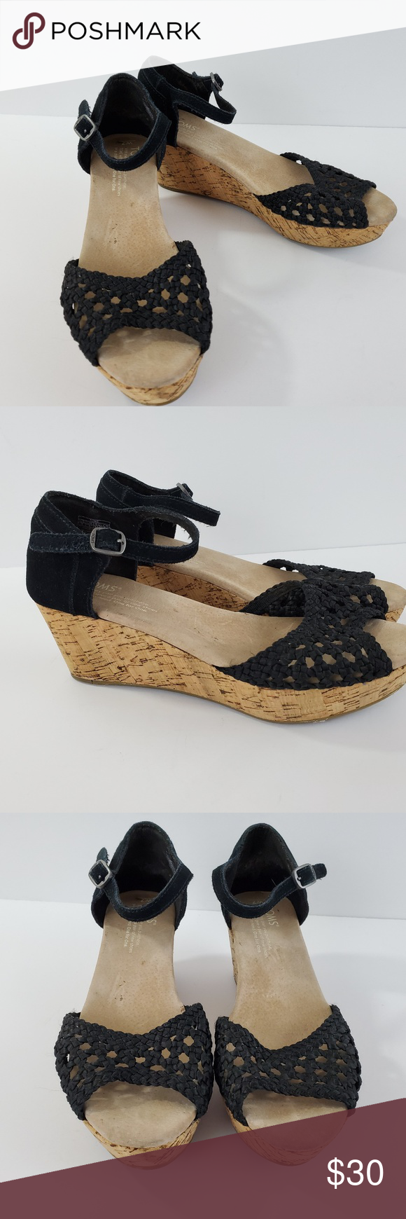 Toms Wedge Heel Shoes Black Suede Open Toe Size 7 Toms Wedge Heel Shoes  Womens 7  Black  Suede  Open Toe  Ankle Strap  Basket Weave Top 2.5 Heel  Good pre owned condition Toms Shoes Wedges #tomwedges