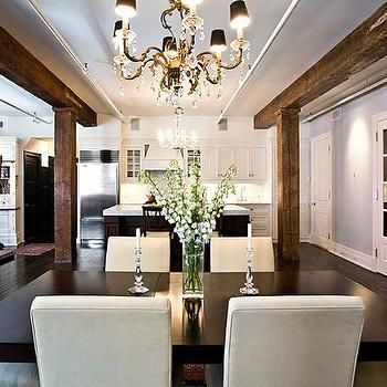 Exposed Wood Beams Contemporary Dining Room Anne Chessin Designs