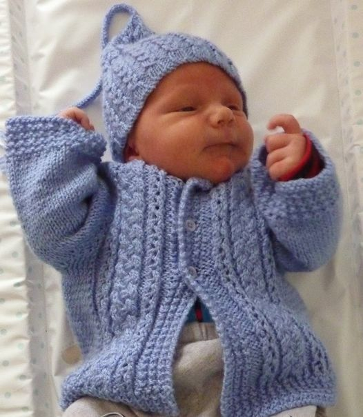 Free knitting pattern for Baby Cardigan and Hat with cables ...