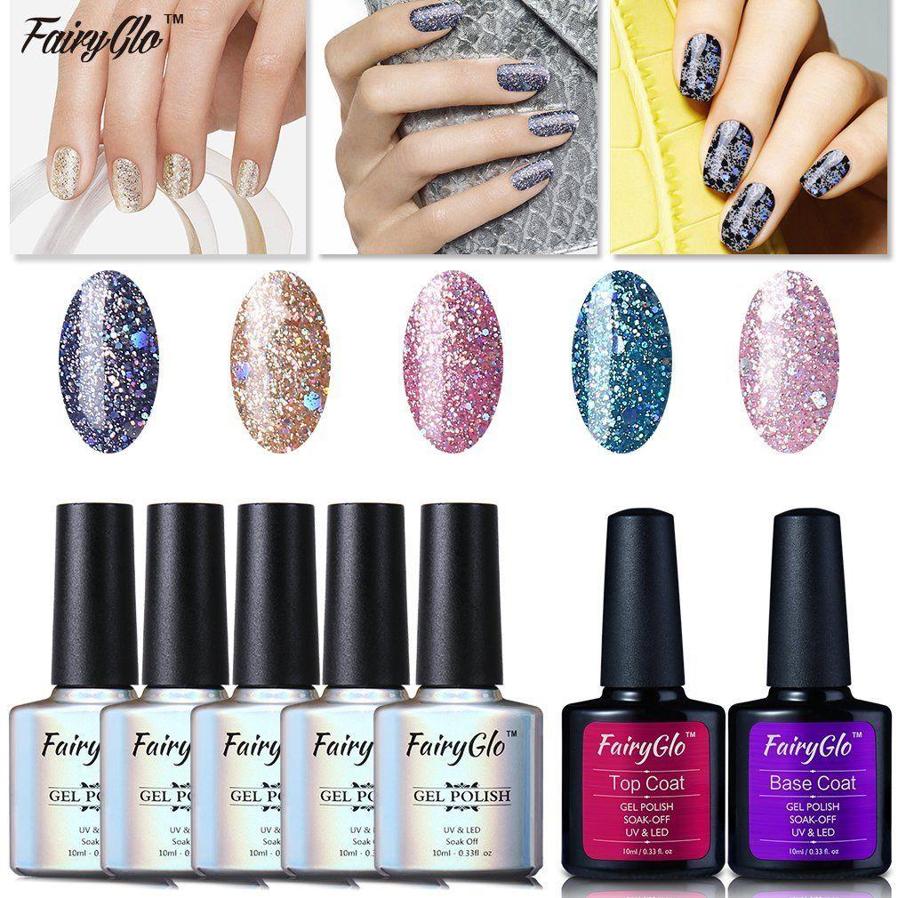 Fairyglo wellpicked 5 colour combo glitter uv led gel