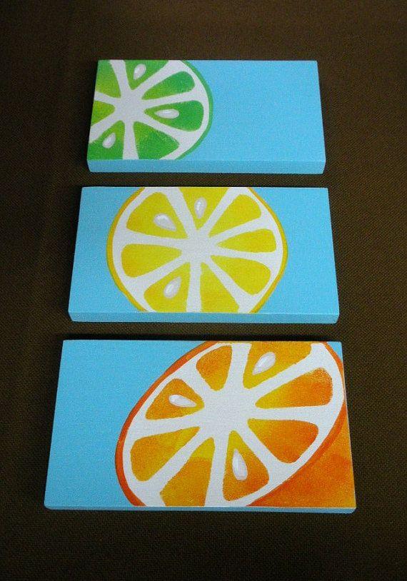 Set Of 3 Lemon Orange And Lime Kitchen Bathroom Wood Plaques On Aqua Blue