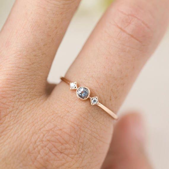 Aquamarine Diamond Ring 14k Gold Rose Gold White Gold Dainty