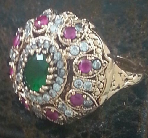 Turkish Ottoman Ring Antique Rare Hareem Al sultan Rose