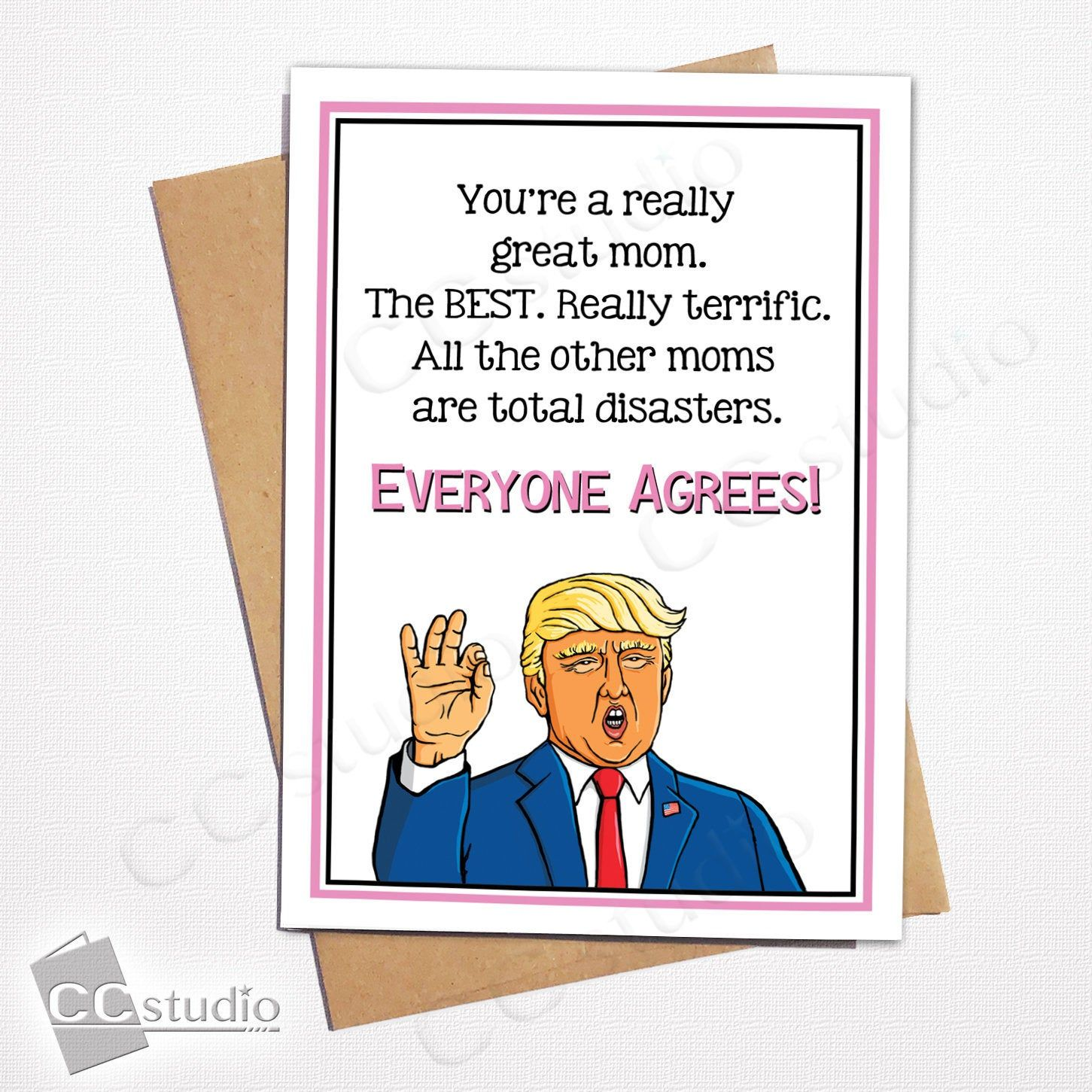 Personalised funny DONALD TRUMP /'Great Mum/' Mother/'s day greeting card gift idea
