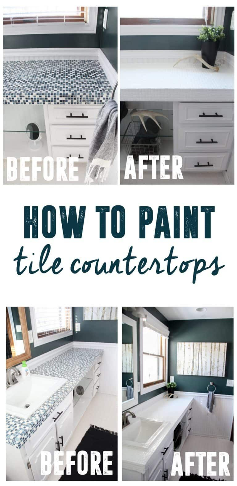 How to Paint Tile Countertops and our Modern Bathroom Reveal ...