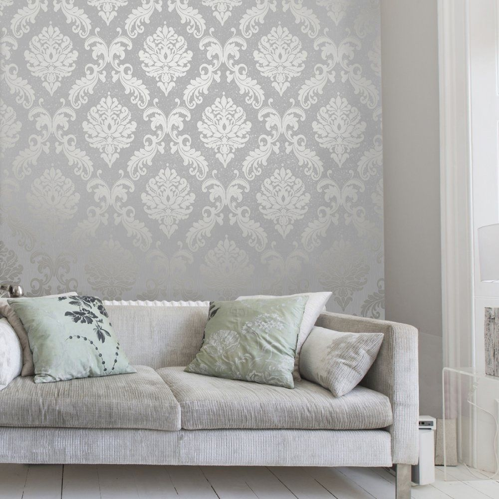 Henderson interiors chelsea glitter damask wallpaper soft for Grey feature wallpaper bedroom