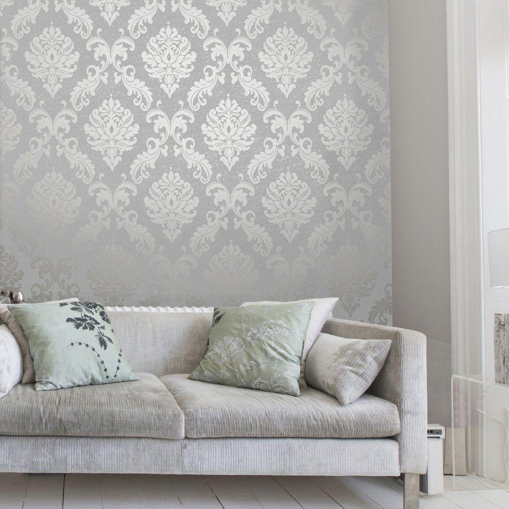 Henderson Interiors Chelsea Glitter Damask Wallpaper Soft ...