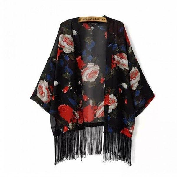 Black flower chiffon kimono jacket ($18) ❤ liked on Polyvore featuring outerwear, jackets, cardigans, black flower chiffon kimono jacket, kimono, chiffon kimono jacket, chiffon jacket, chiffon kimono, flower kimono and flower jacket