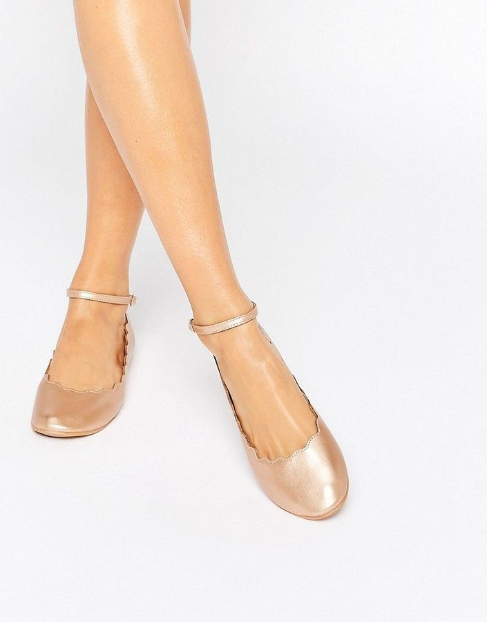 bca82fc469c Rose Gold Scallop Edge Ankle Strap Ballerina