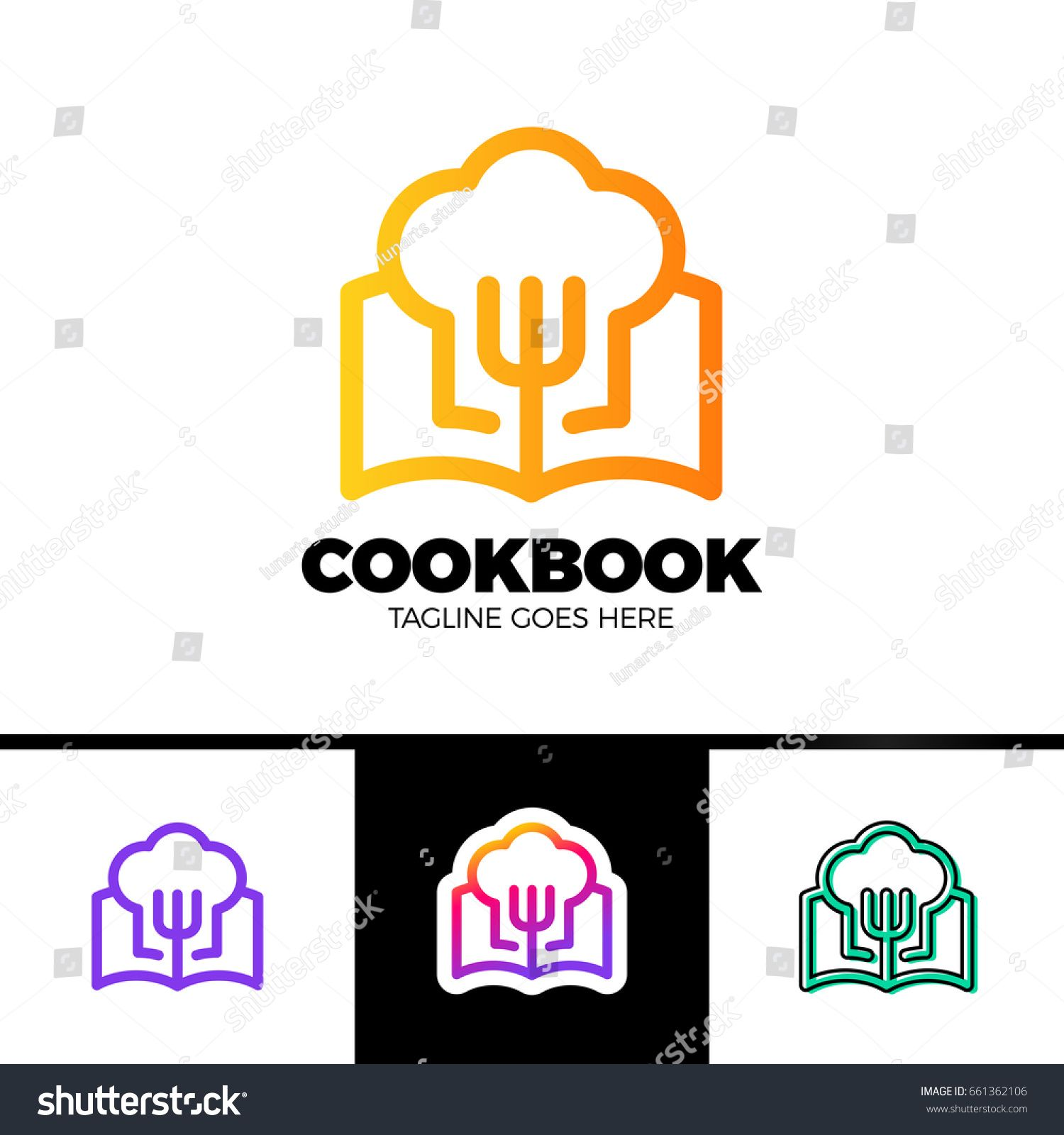 Recipe Book Logo Template Design in outline style Vector
