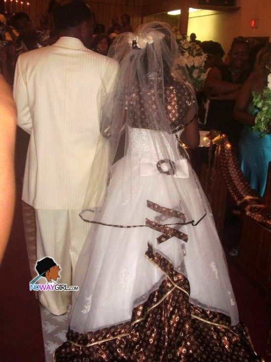 Another hood bride at a ghetto wedding wearing a fake louie vuitton ...