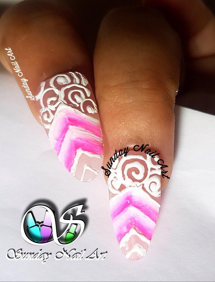 Beauty Of Pinkk Nail Art By Sunday Nail Art One Stroke Nail Art