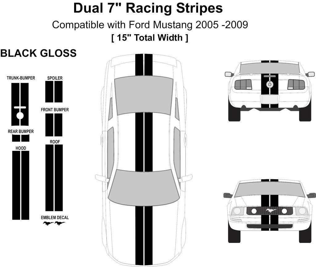 Dual 7 Wide Racing Stripes Kit With Pins Total Width 15