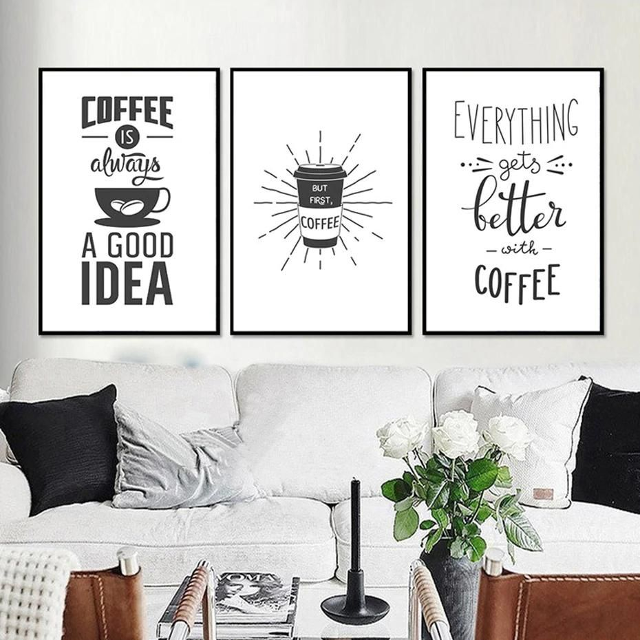 Nordic Cafe Art Coffee Themed Posters Minimalist Black And White Canva Room Wall Painting White Canvas Art Cafe Wall Art