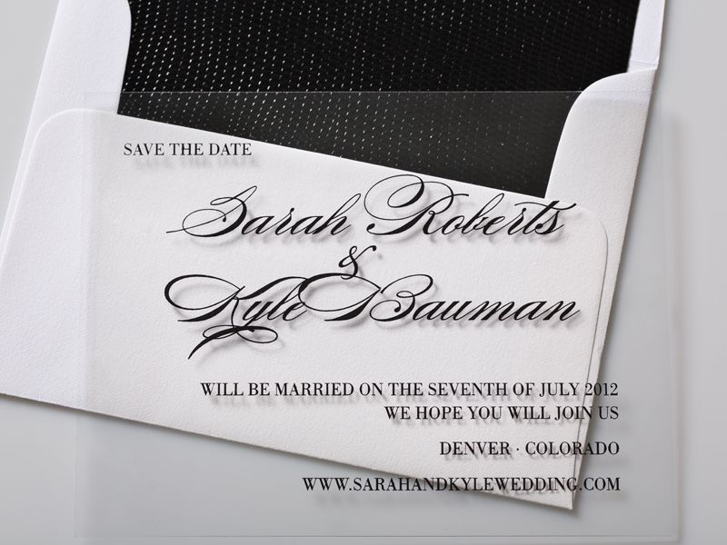 Plastic Wedding Invitations: Clear, Plastic Save The Date Card.