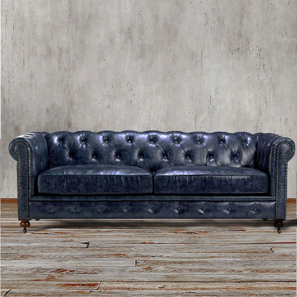 chesterfield sofa navy indigo blue leather couch living room furniture nailhead. Black Bedroom Furniture Sets. Home Design Ideas