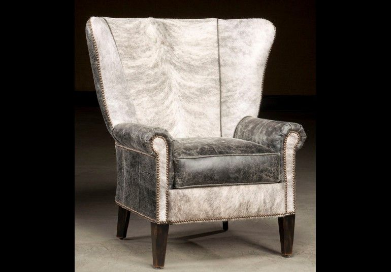 High Back Accent Chair Hair Hide And Distressed Leather High