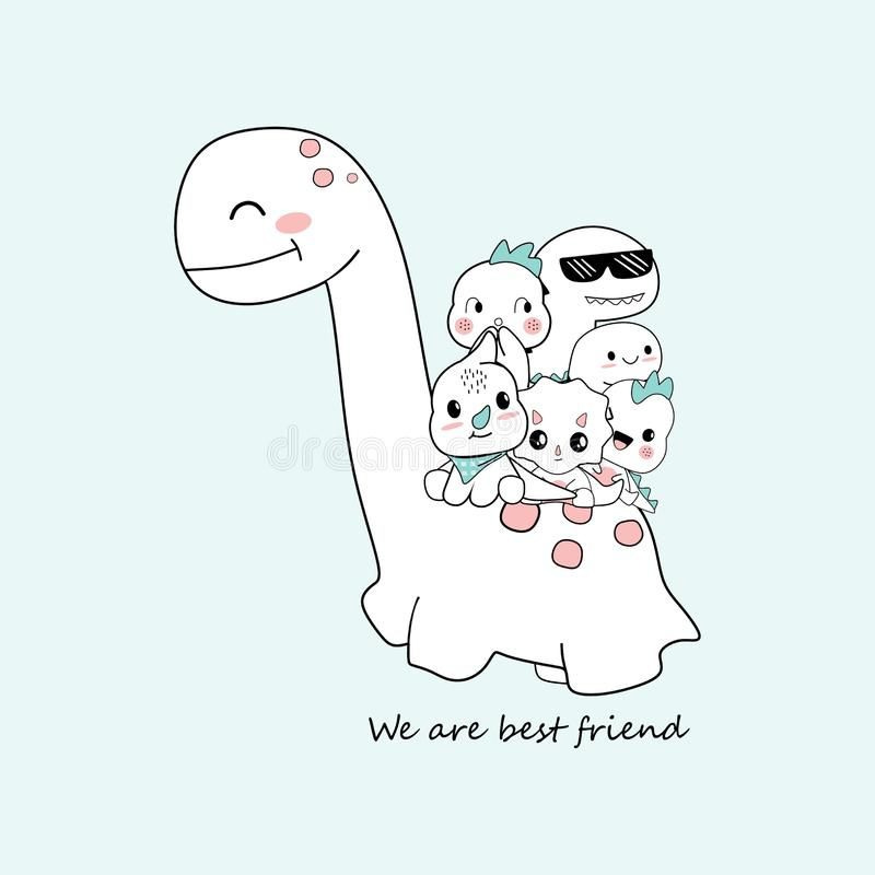 Photo About Cute Dino Cartoons That Are Be Best Friend This Is Perfect For Children Can Be Used As Poster Cute Doodle Art Cute Doodles Wallpaper Iphone Cute