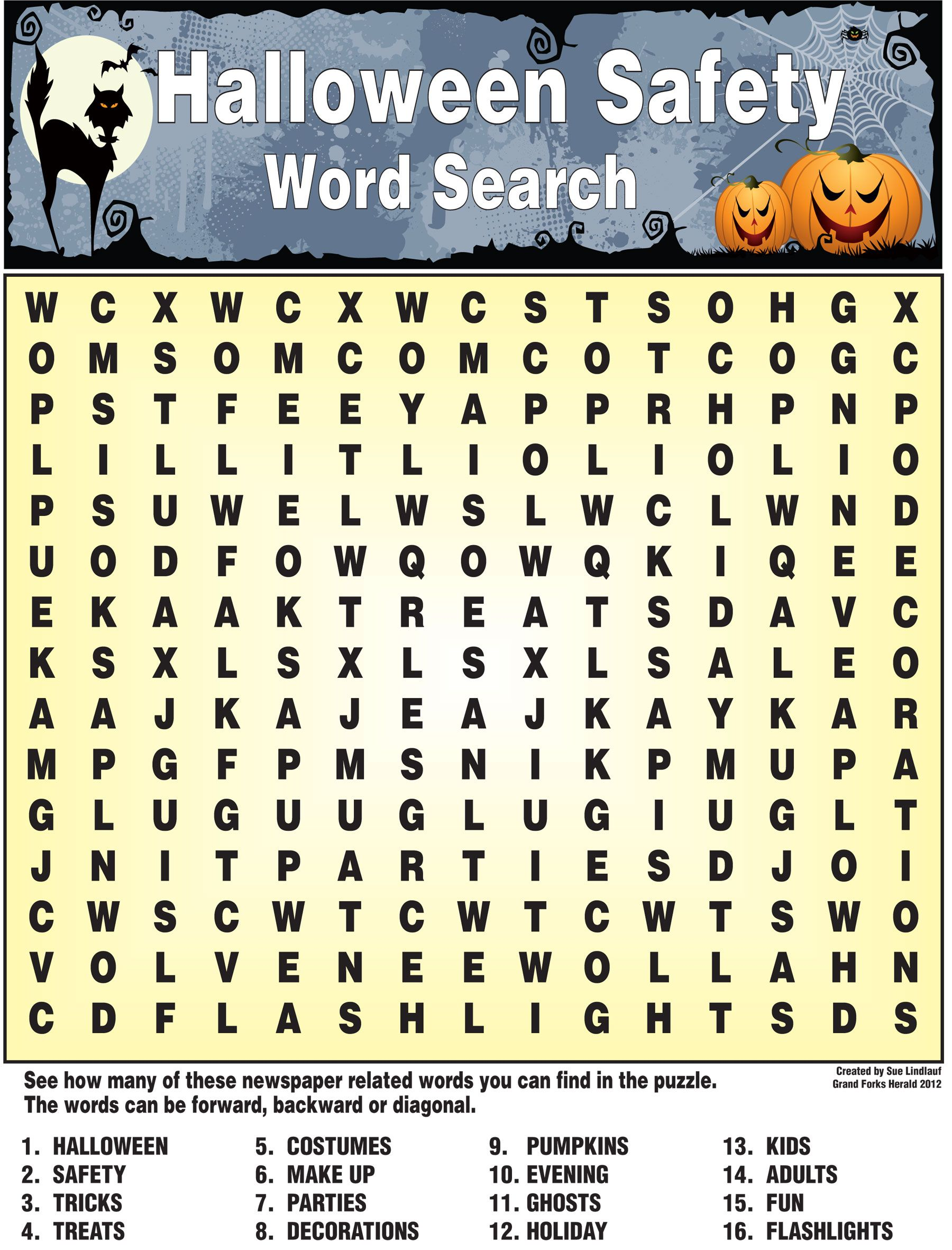Halloween Safety Word Search