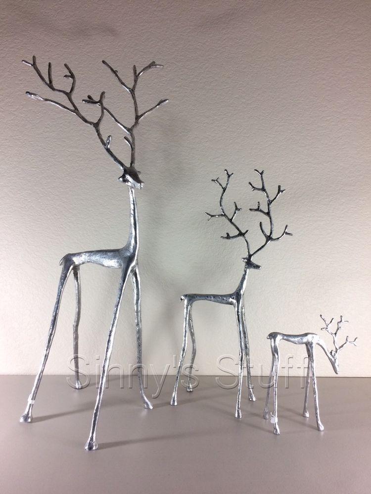 set of 3 new pottery barn sculpted silver reindeer antique aluminum figures potterybarn