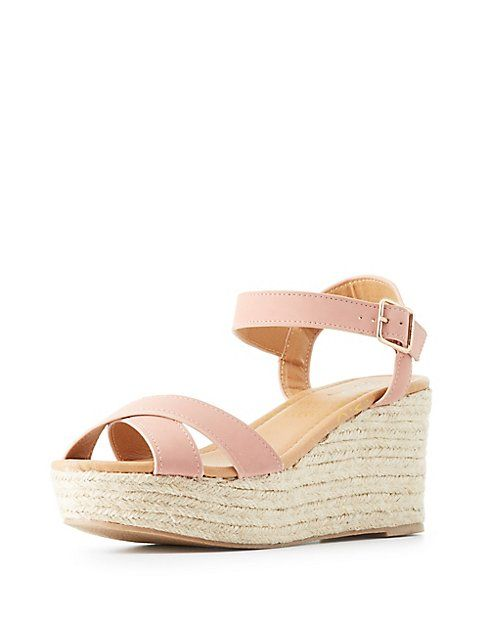 7b47472e16f Qupid Two-Piece Espadrille Wedge Sandals | Shoes! | Wedge sandals ...