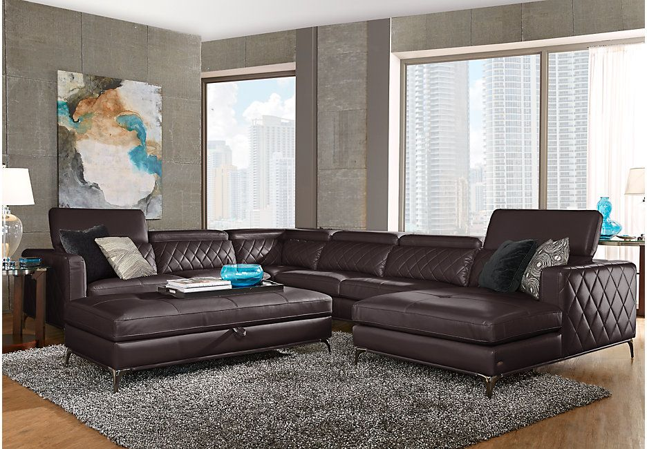 Sofia Vergara Sorrento Black Cherry 5 Pc Sectional Living Room ...