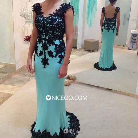 Chic Turquoise V Neck Floor Length Chiffon prom dresses with Appliques Form http://www.niceoo.com/products/16690521-chic-turquoise-v-neck-floor-length-chiffon-prom-dresses-with-appliques