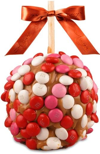 Share something sweet with someone sweet! Our signature jumbo granny smith caramel apple with pink, red and white M's.  http://www.amysgourmetapples.com/gifts-by-occasion/sweetheart-valentines-gifts