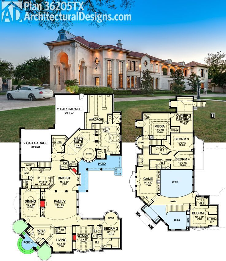 Plan 36205tx two story master retreat luxury houses for 7000 sq ft house plans