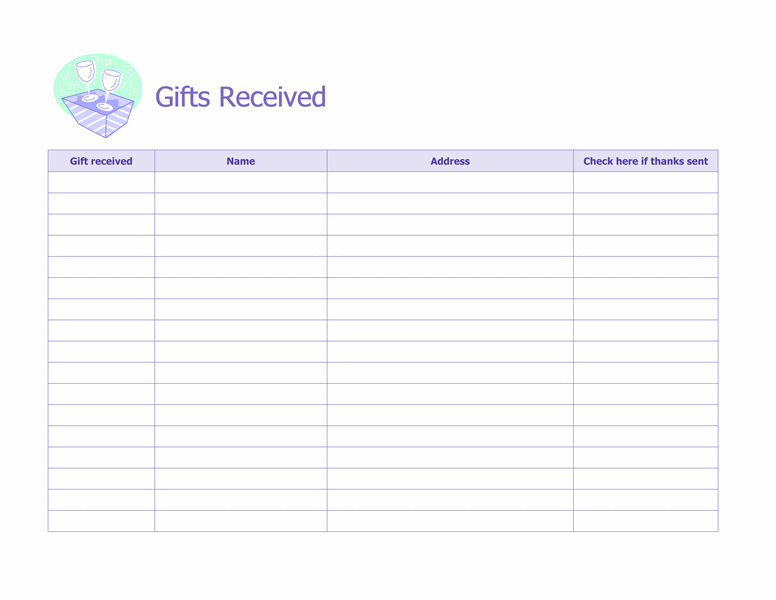 Record Of Gifts Received  Microsoft Office Template  Wedding