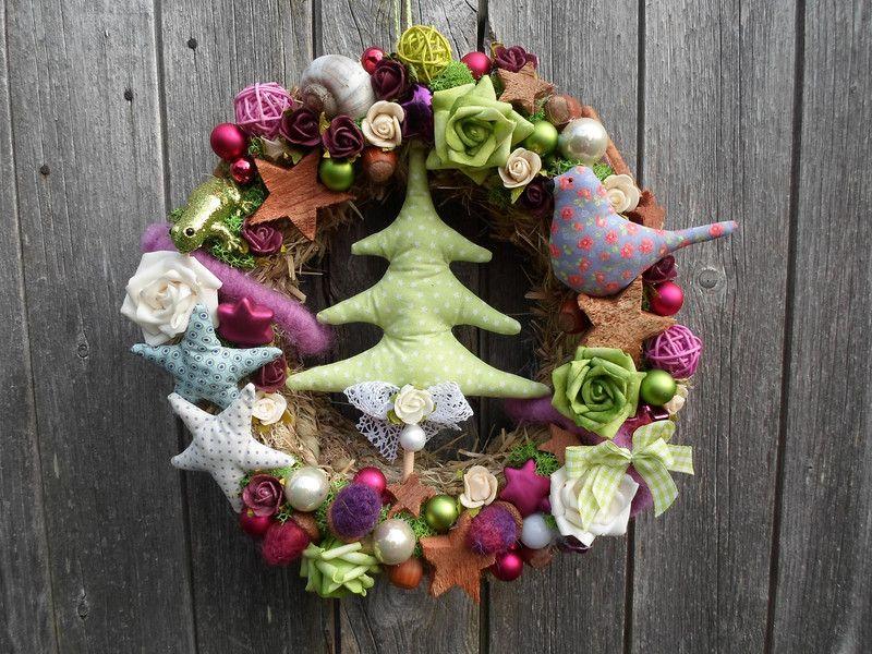 Weihnachtlicher Heukranz Bunter Weihnachtstraum von Purforeigner´s Deko Shop auf DaWanda.com