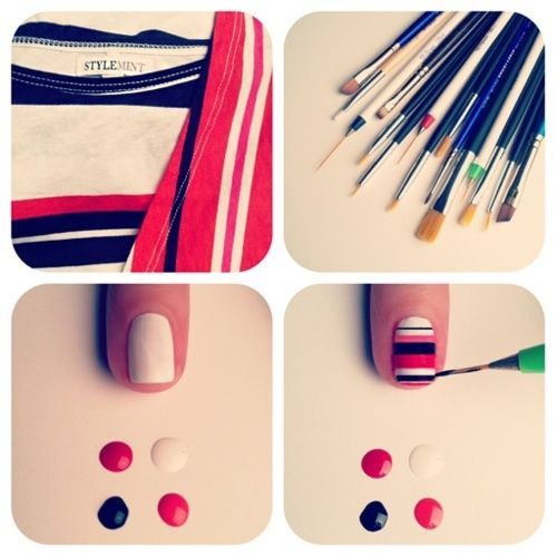 Stripped tee-inspired nails. I would love to do this myself, but I'll leave that to my manicurist.