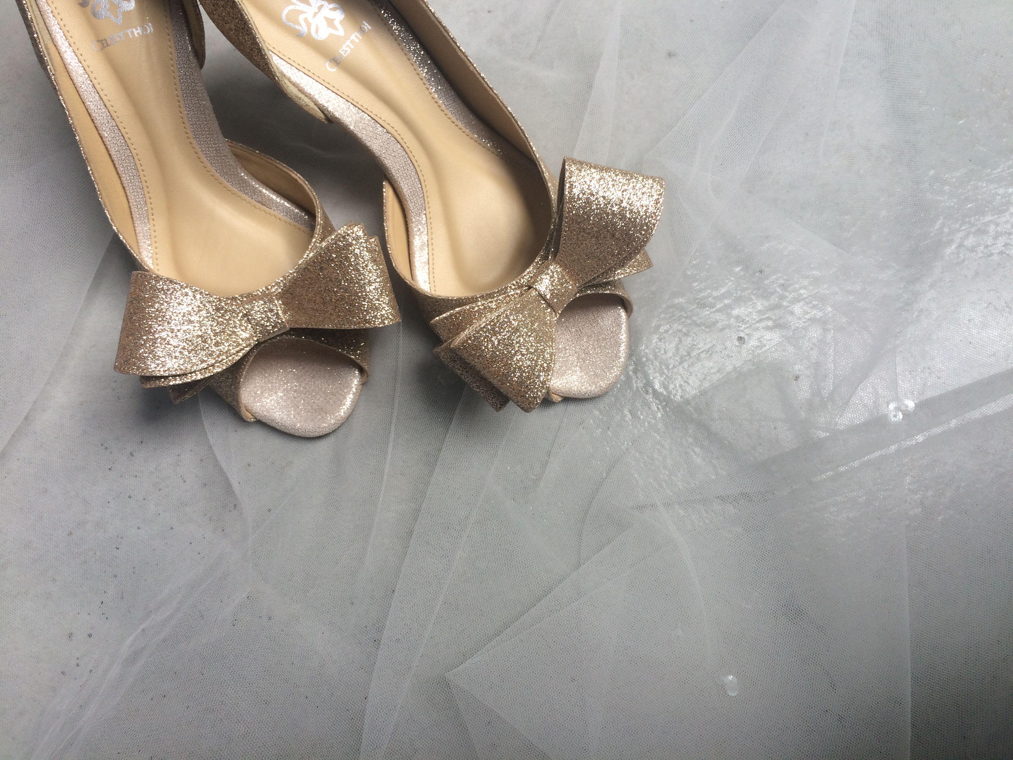 Celest Thoi bespoke wedding shoes with glittered fabric