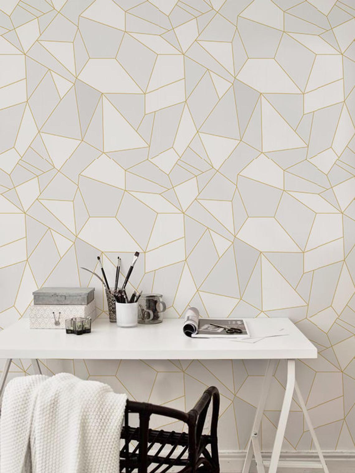 Light Triangles Removable Wallpaper Light Grey Wall Mural Etsy Light Grey Walls Removable Wallpaper Grey Walls Bedroom wallpaper light grey