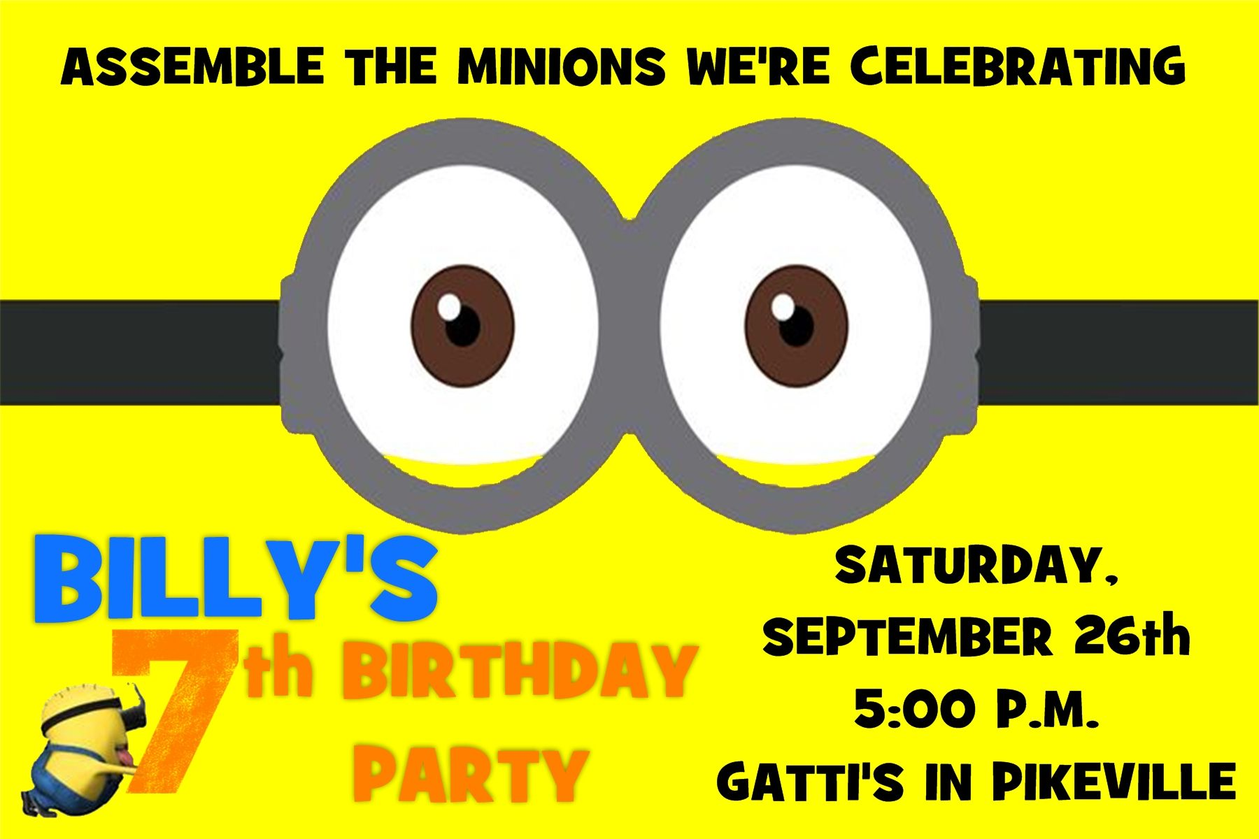 4x6 Minion (Despicable Me) Birthday Invitation  Contact me via email at aswiney01@yahoo.com or click on the image to message me via my facebook page.  I can design this or any other invitation for only $10.